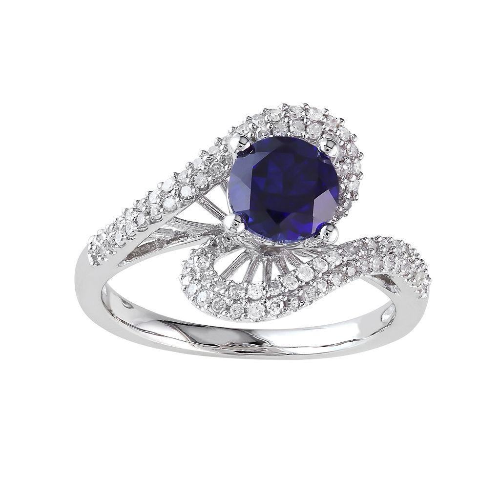 Lab-Created Sapphire & Diamond Swirl Engagement Ring in 10k White Gold (.32 ct. T.W.)