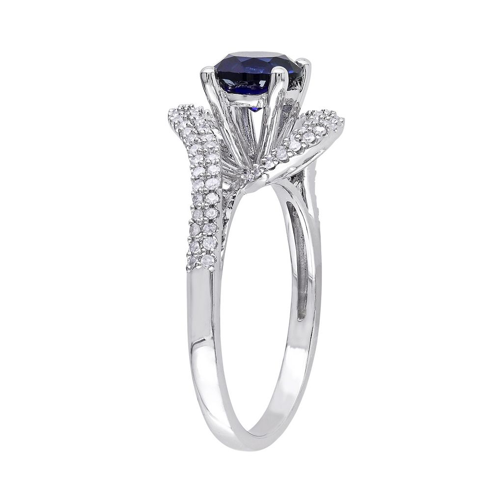Lab-Created Sapphire and Diamond Swirl Engagement Ring in 10k White Gold (.32 ct. T.W.)
