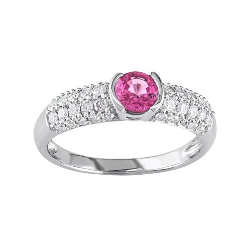 Stella Grace Lab-Created Pink Sapphire and Diamond Engagement Ring in 14k White Gold (1/2 ct. T.W.)