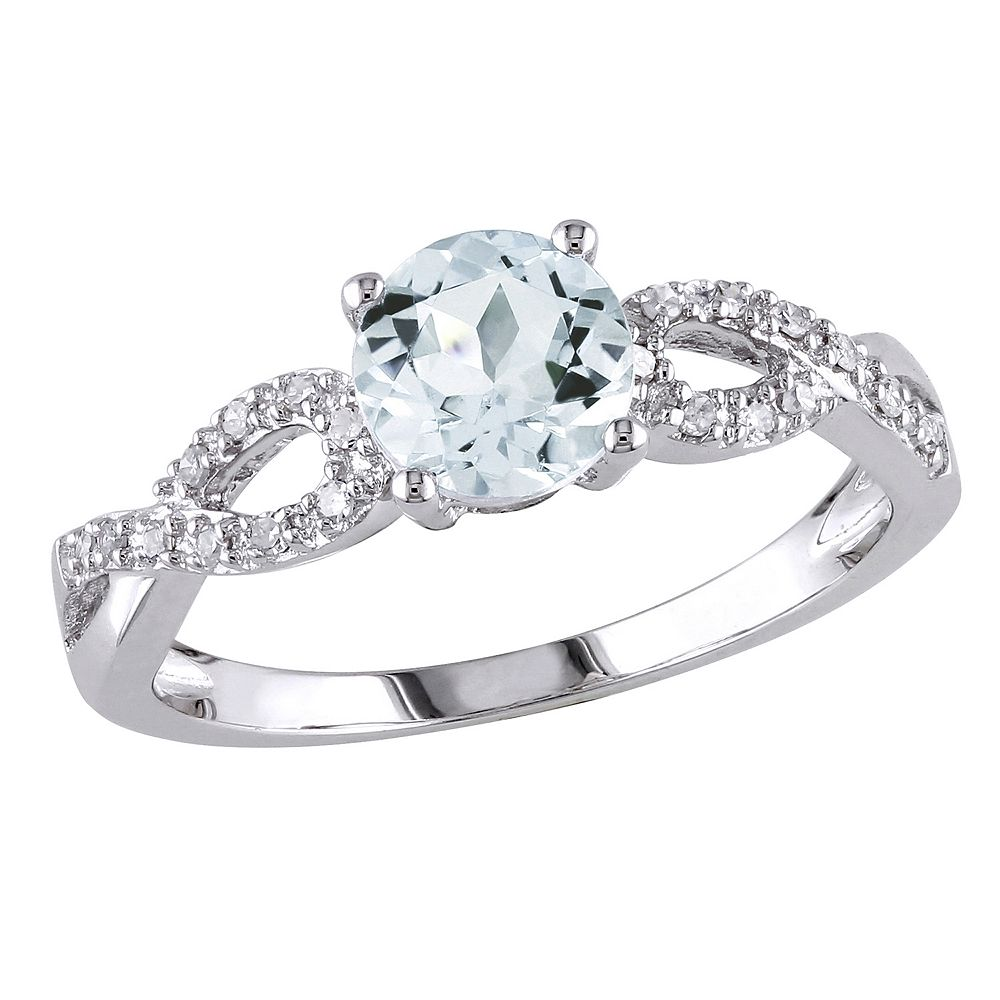 aquamarine diamond accent infinity engagement ring in 10k white gold - 10k Wedding Ring