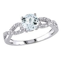 Aquamarine & Diamond Accent Infinity Engagement Ring in 10k White Gold