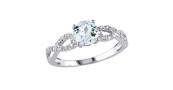 Diamond Rings For Sale Kohls: Aquamarine And Diamond Accent Infinity Engagement Ring In