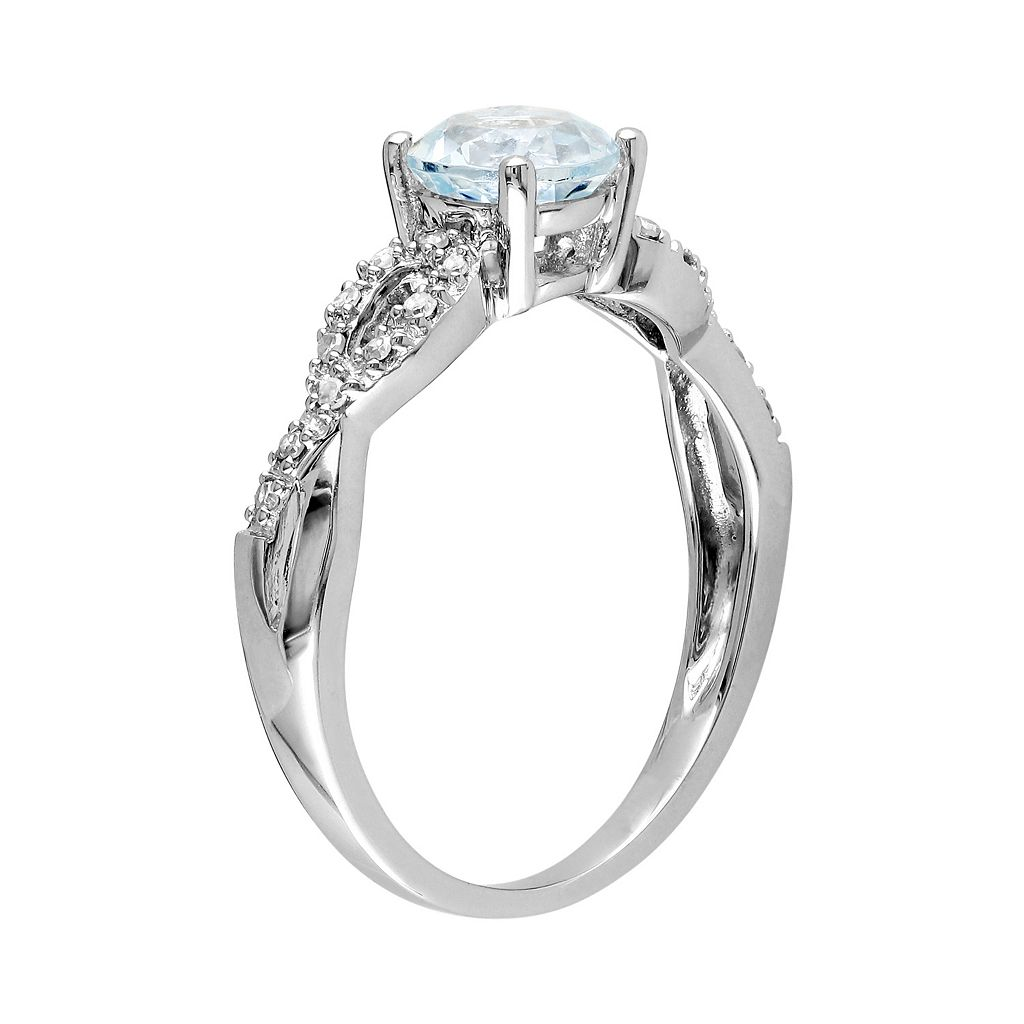 Aquamarine and Diamond Accent Infinity Engagement Ring in 10k White Gold