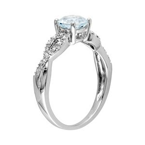 Stella Grace Aquamarine and Diamond Accent Infinity Engagement Ring in 10k White Gold