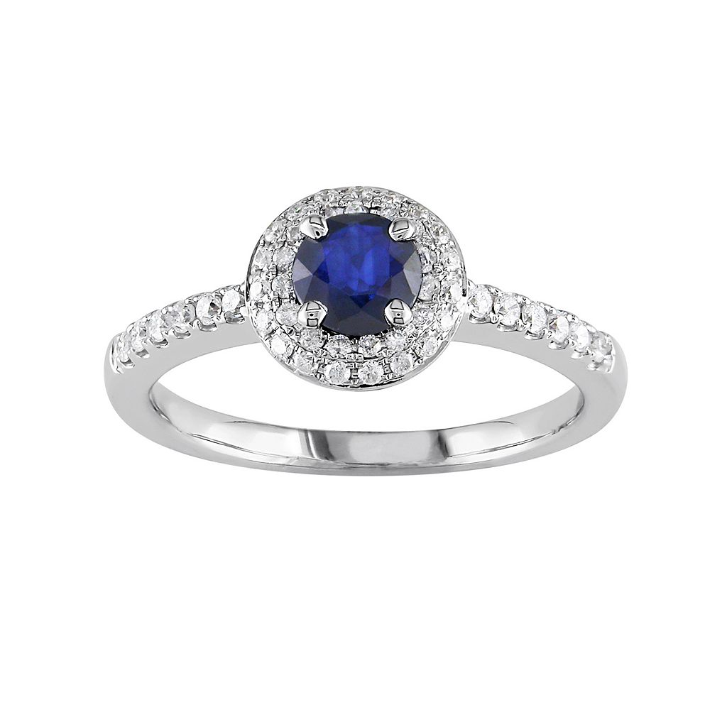 Lab-Created Sapphire & Diamond Halo Engagement Ring in 14k White Gold (1/4 ct. T.W.)