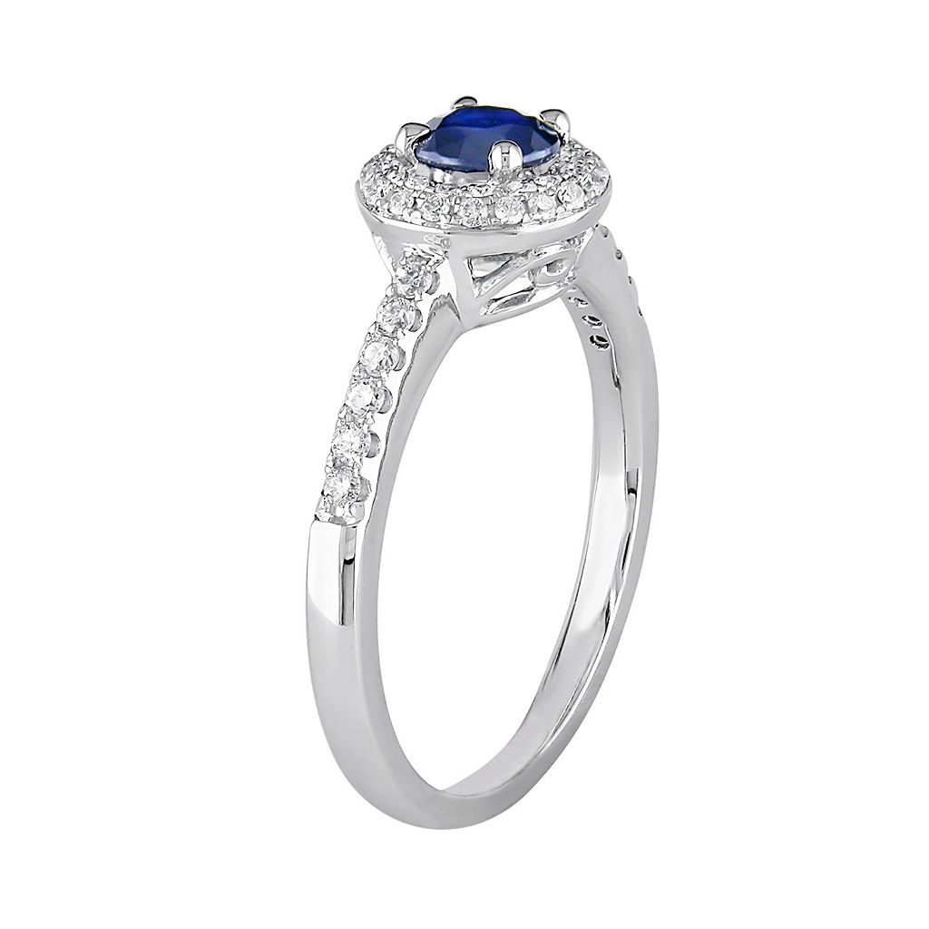 Lab-Created Sapphire and Diamond Halo Engagement Ring in 14k White Gold (1/4 ct. T.W.)