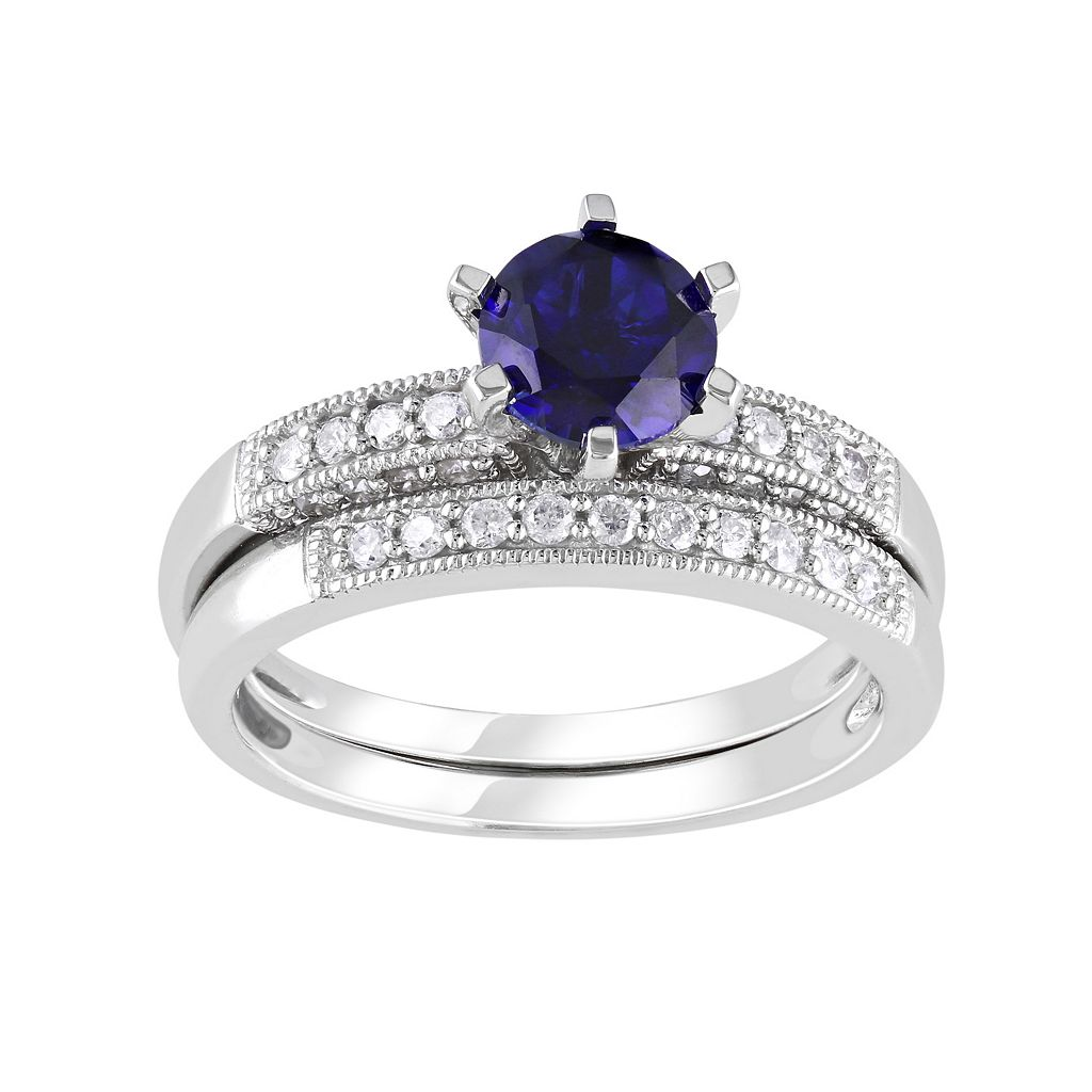 Lab-Created Sapphire & Diamond Engagement Ring Set in 10k White Gold (1/3 ct. T.W.)