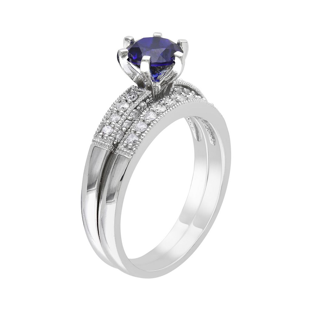 Lab-Created Sapphire and Diamond Engagement Ring Set in 10k White Gold (1/3 ct. T.W.)
