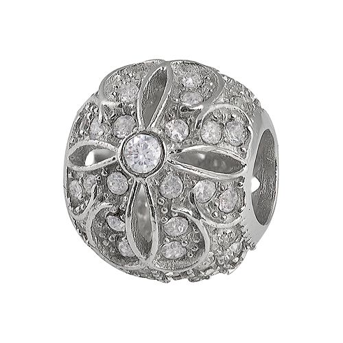 Individuality Beads Sterling Silver Crystal Openwork Flower Bead