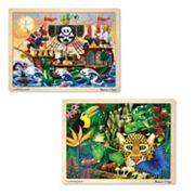 Melissa & Doug 2 pkPirate & Jungle Puzzles
