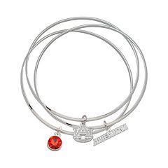 LogoArt Auburn Tigers Silver Tone Crystal Charm Bangle Bracelet Set