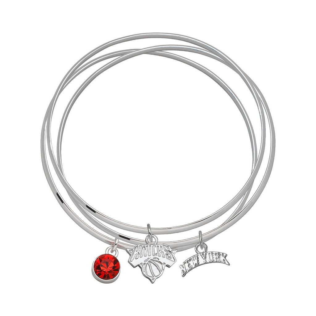 LogoArt New York Knicks Silver Tone Crystal Charm Bangle Bracelet Set