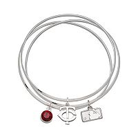 LogoArt Minnesota Twins Silver Tone Crystal Charm Bangle Bracelet Set