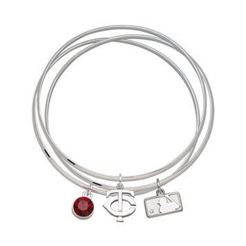 LogoArt Minnesota Twins Silver Tone Crystal Charm Bangle Bracelet Set