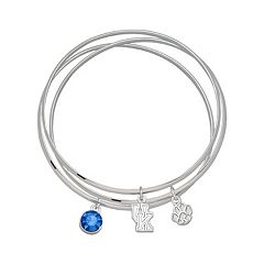 LogoArt Kentucky Wildcats Silver Tone Crystal Charm Bangle Bracelet Set