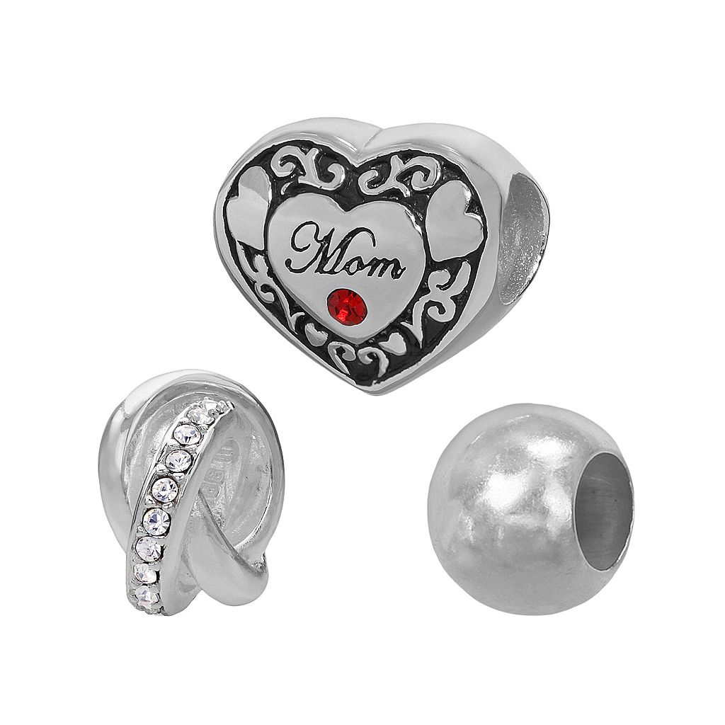 Individuality Beads Sterling Silver Crystal Mom Heart & Love Knot Bead Set