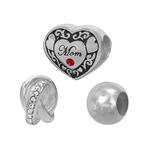 Individuality Beads Sterling Silver Crystal Mom Heart and Love Knot Bead Set