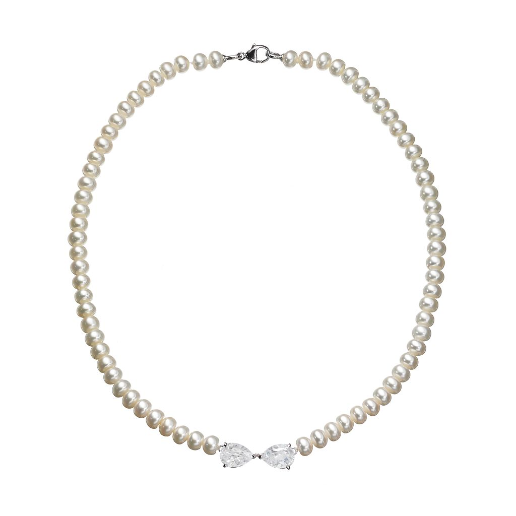 Freshwater by HONORA Sterling Silver Freshwater Cultured Pearl Bow Necklace - Made with Swarovski Cubic Zirconia
