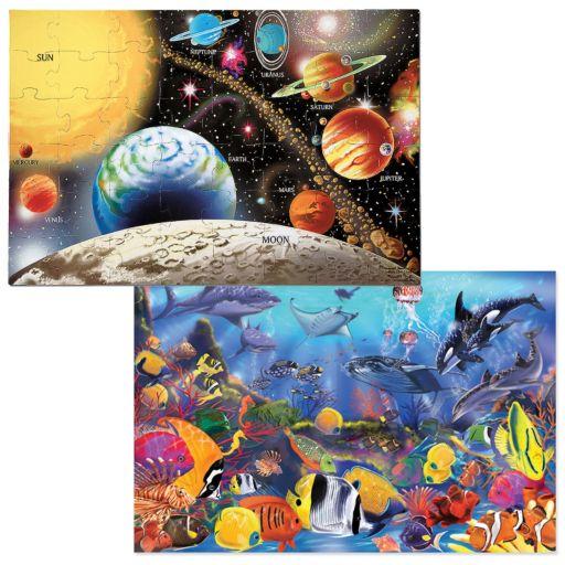 Melissa and Doug 2-pk. Planets and Sea Life Puzzles