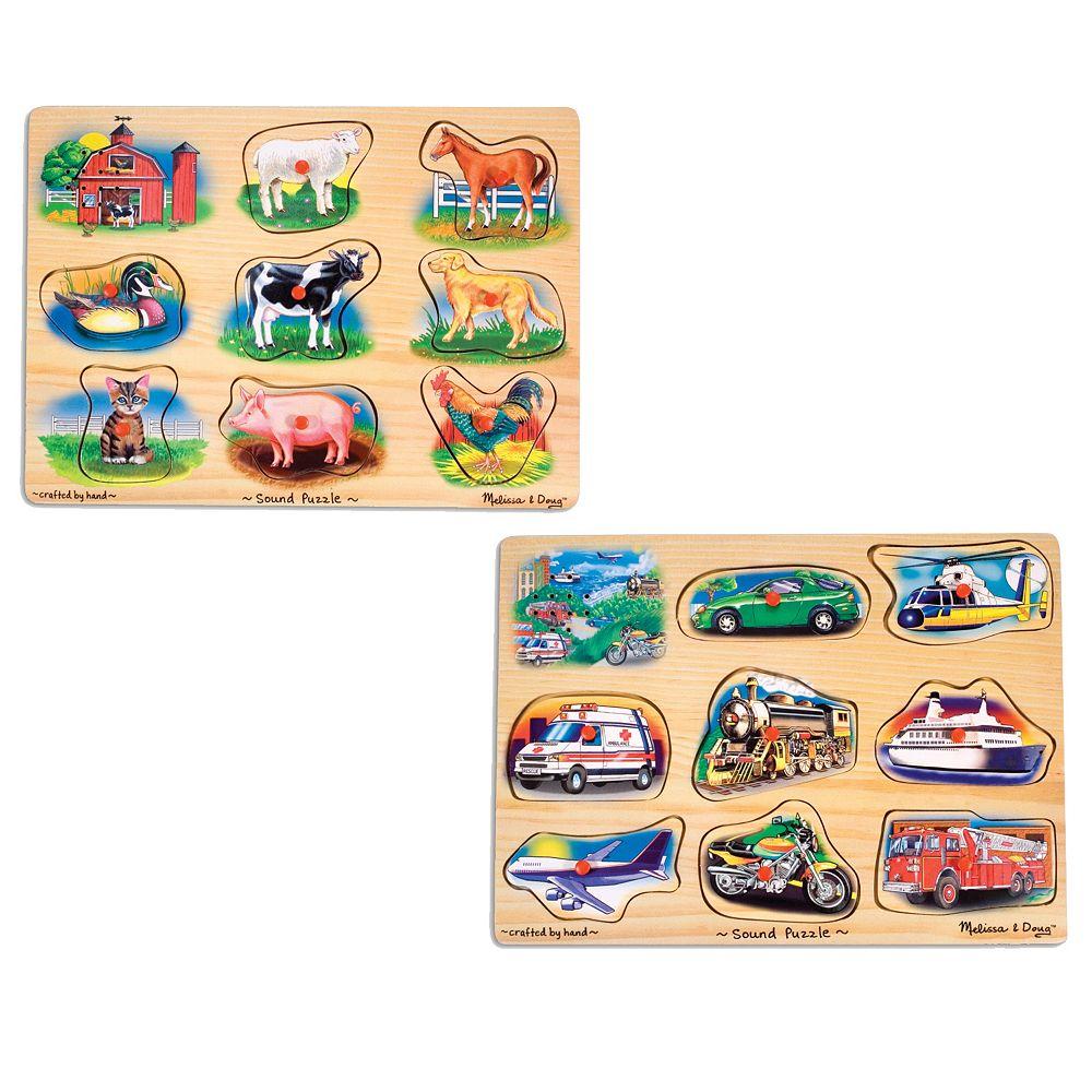 Melissa & Doug 2-pk. Animal & Vehicle Sound Puzzles