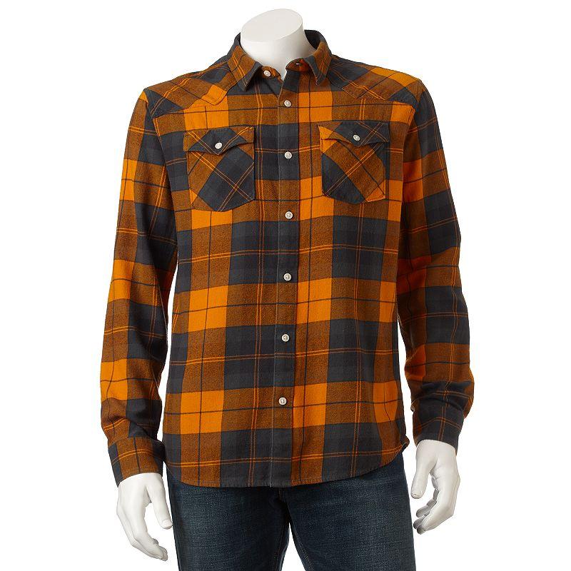 Urban Pipeline Plaid Flannel Western Woven Shirt - Men Size M (Orange)