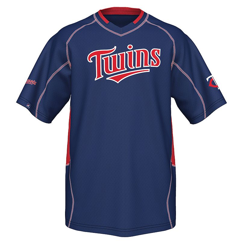 Majestic Minnesota Twins Fast Action V-Neck Top - Big and Tall