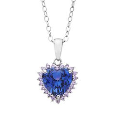 Lab-Created Tanzanite & Cubic Zirconia Sterling Silver Heart Pendant Necklace