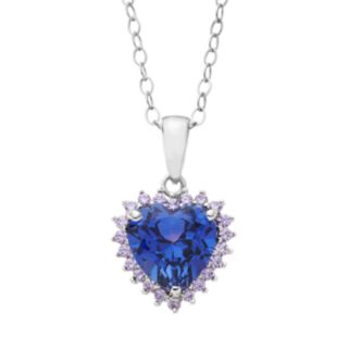 Lab-Created Tanzanite and Cubic Zirconia Sterling Silver Heart Pendant Necklace