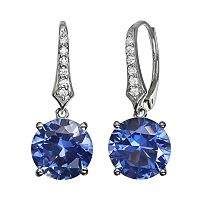 Lab-Created Tanzanite & Cubic Zirconia Sterling Silver Drop Earrings