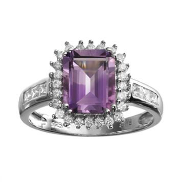 Amethyst & Cubic Zirconia Sterling Silver Rectangle Halo Ring