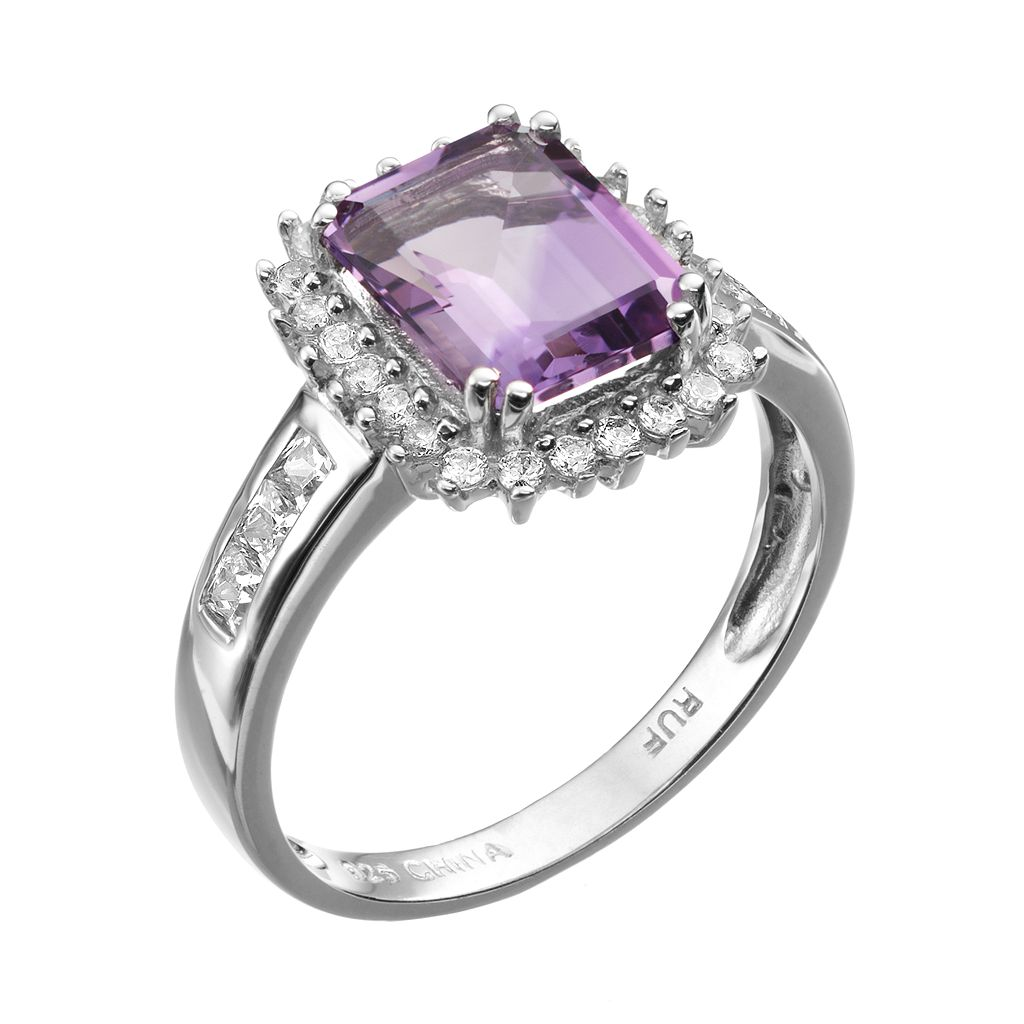 Amethyst and Cubic Zirconia Sterling Silver Rectangle Halo Ring