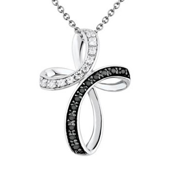 1/4 Carat T.W. Black & White Diamond Sterling Silver Ribbon Cross Pendant Necklace