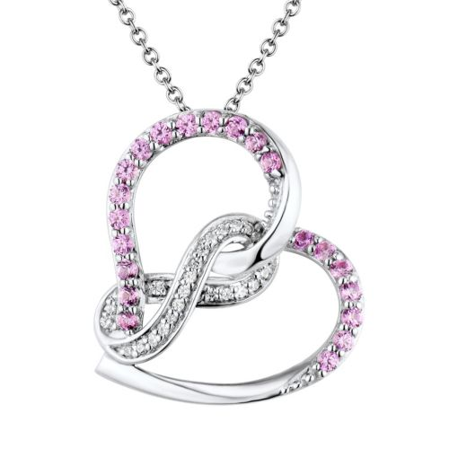 sterling silver labcreated ruby and diamond accent heart