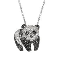 1/4 Carat T.W. Black & White Diamond Sterling Silver Panda Pendant Necklace