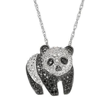 1/4 Carat T.W. Black & White Diamond Sterling Silver Panda Pendant Necklace