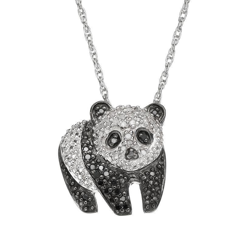 "1/4 Carat T.W. Black and White Diamond Sterling Silver Panda Pendant Necklace, Women's, Size: 18"""