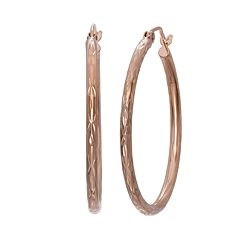 14k Rose Gold Textured Hoop Earrings