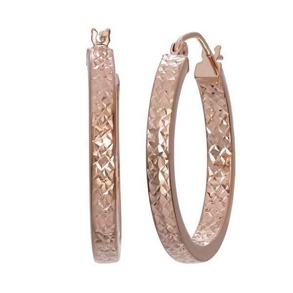 14k Rose Gold Textured Hoop Earrings