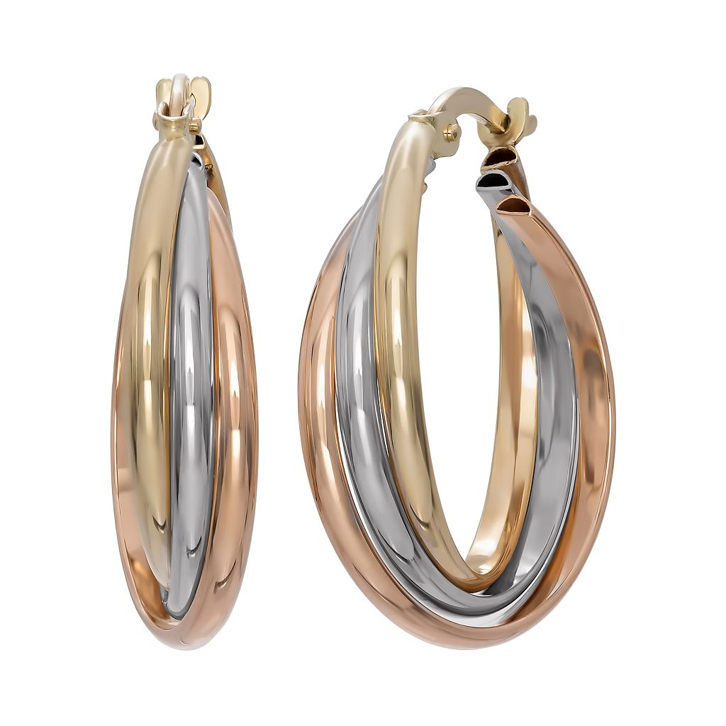 14k Gold Tri-Tone Triple Hoop Earrings