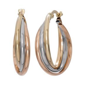 14k Gold Tri-Tone Triple Hoop Earrings