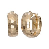 14k Gold Hammered Hoop Earrings