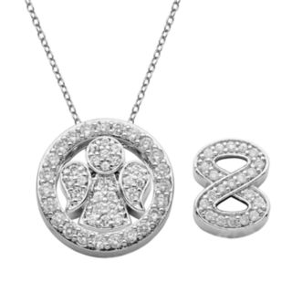 Silver-Plated Cubic Zirconia Interchangeable Angel, Infinity and Circle Pendant Set