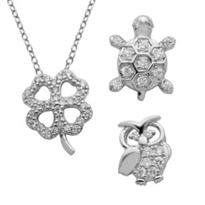 Silver-Plated Cubic Zirconia Interchangeable Owl, Turtle and Four-Leaf Clover Pendant Set