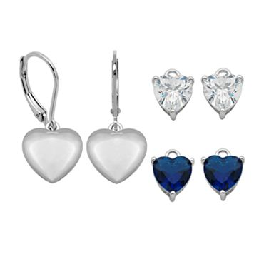 Silver-Plated Cubic Zirconia Interchangeable Heart Drop Earring Set
