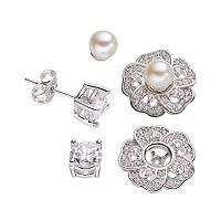 Silver-Plated Cubic Zirconia & Freshwater Cultured Pearl Interchangeable Flower Jacket & Stud Earring Set
