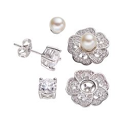 Silver-Plated Cubic Zirconia & Freshwater Cultured Pearl Interchangeable Flower Jacket & Stud Earring Set