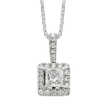 18k White Gold 1/2-ct. T.W. IGL Certified Colorless Diamond Halo Pendant
