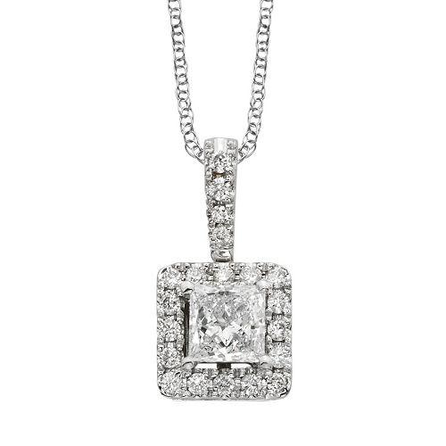 18k White Gold 1/2-ct. T.W. IGL Certified Colorless Diamond Halo Pendant