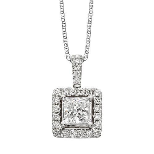 18k White Gold 1-ct. T.W. IGL Certified Colorless Diamond Halo Pendant