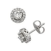 18k White Gold 1 ctT.W. IGL Certified Colorless Diamond Halo Stud Earrings